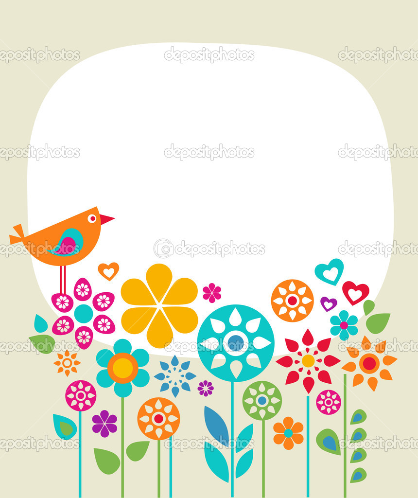 Easter card template with flowers and a bird — Stock Vector #2243266