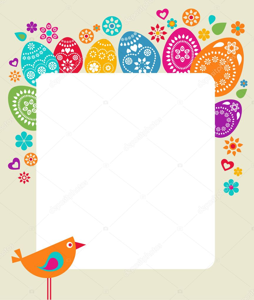 Easter card template with colored eggs, flowers and a bird — Stock Vector #2243276