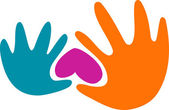 Hands and a heart — Stock Vector