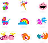 Kids and baby icons and logos — Stock Vector