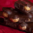 Stock Photo: Dark chocolate with hazelnuts