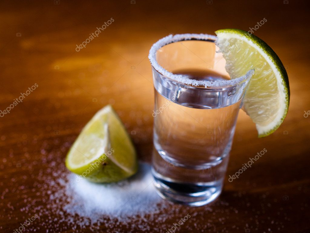 Tequila shot, salt and lime — Stock Photo #1690505