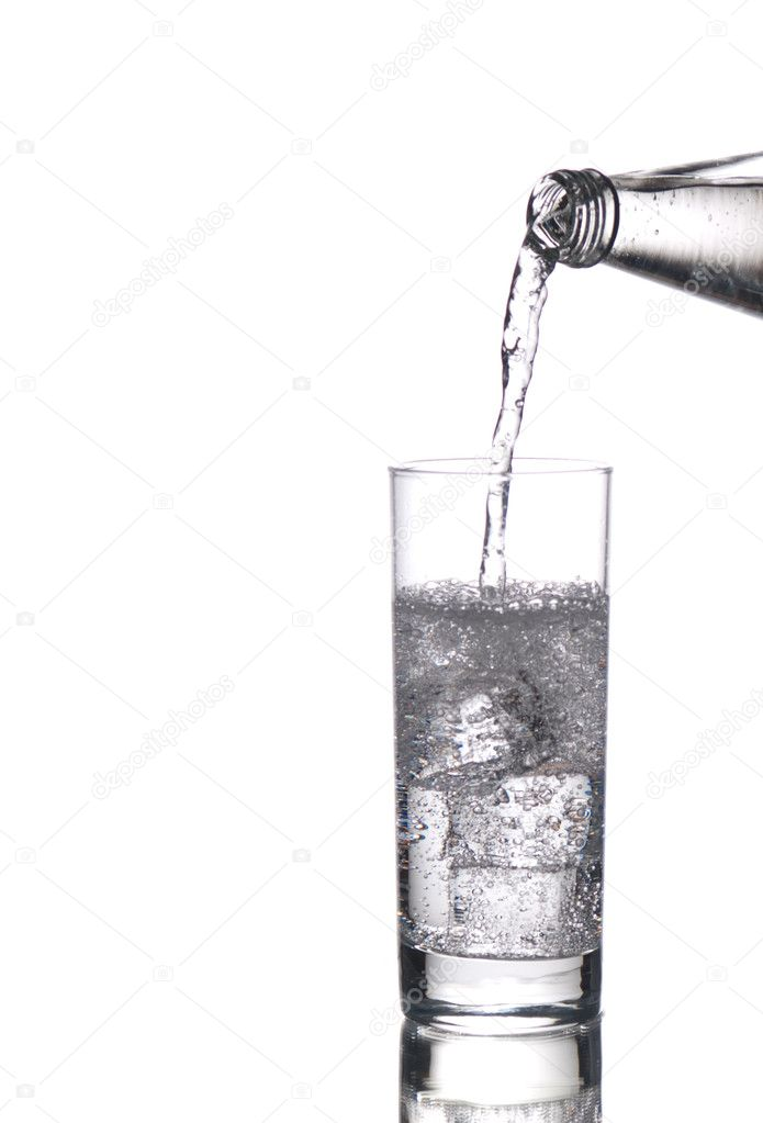 Sparkling water being poured in a glass — Stock Photo #2243638