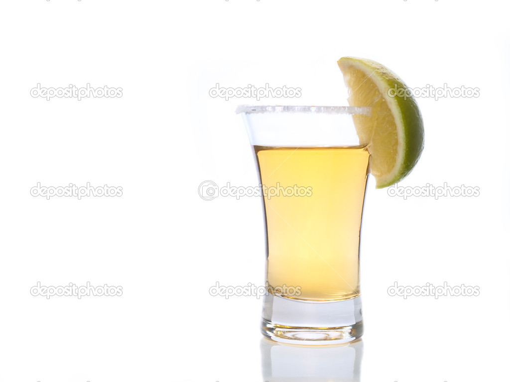 Tequila shot with salt and lime — Stock Photo #2323203