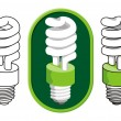 Stock Vector: Spiral compact fluorescent light bulb