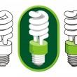Spiral compact fluorescent light bulb — Stock Vector