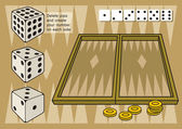Backgammon with dices — Stock Vector