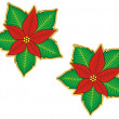 Christmas poinsettia sticker — Stock Vector