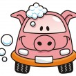 Stock Vector: Car wash pig