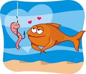 Fish and bait in love — Stock Vector