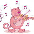 Stock Vector: Pink cat with violin