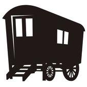 Gypsy caravan wagon silhouette — Stock Vector