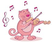 Pink cat with violin — Stock Vector