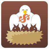 Birds in nest — Stock Vector