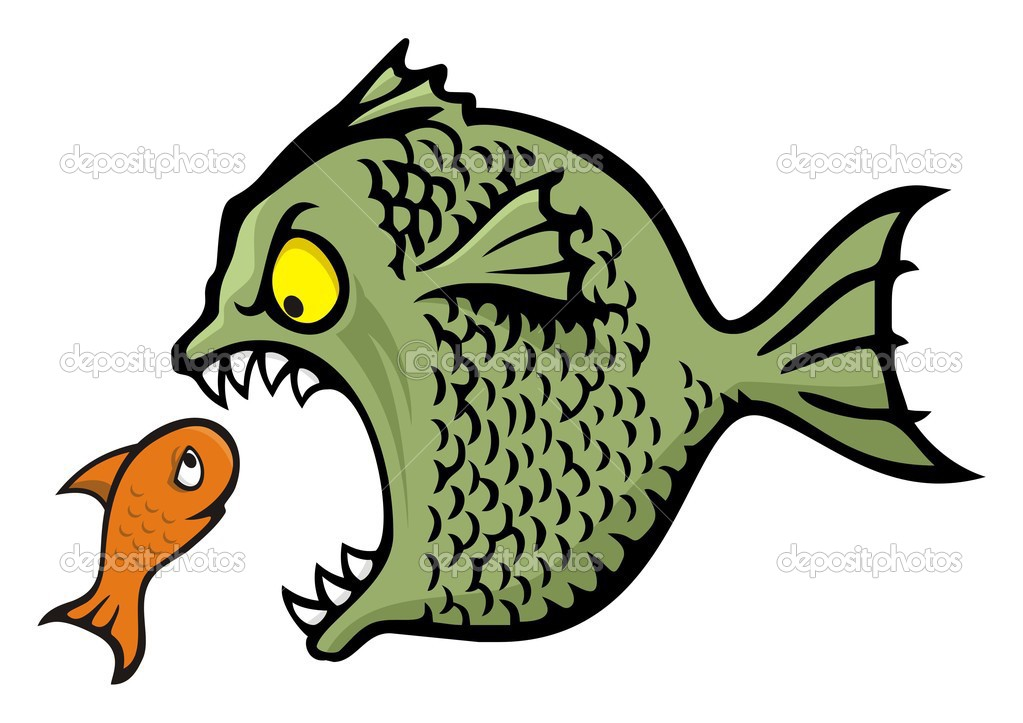 Angry fish bullying a little one cartoon illustration — Stock Vector #2016908