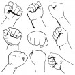Set of fists — Stock Vector