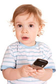 Lovely little boy with phone. — Stock Photo