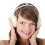 bastante adolescente usando orejera blanco — Foto de Stock