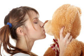 Teen with teddy bear — Stock Photo