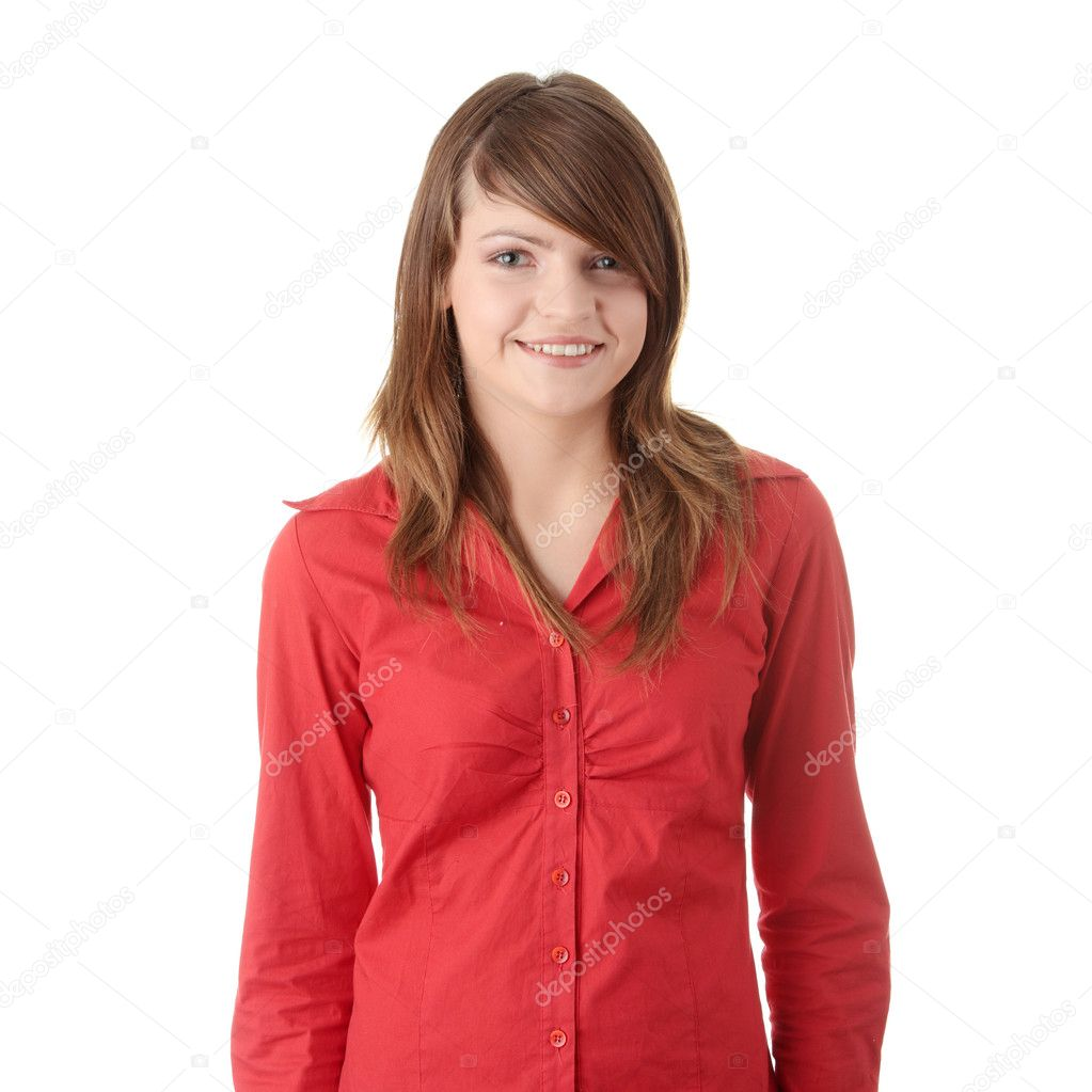 Happy teen girl, isolated on white — Stock Photo #1617571