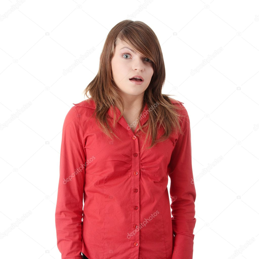 Shocked teen girl, isolated on white — Stock Photo #1617609