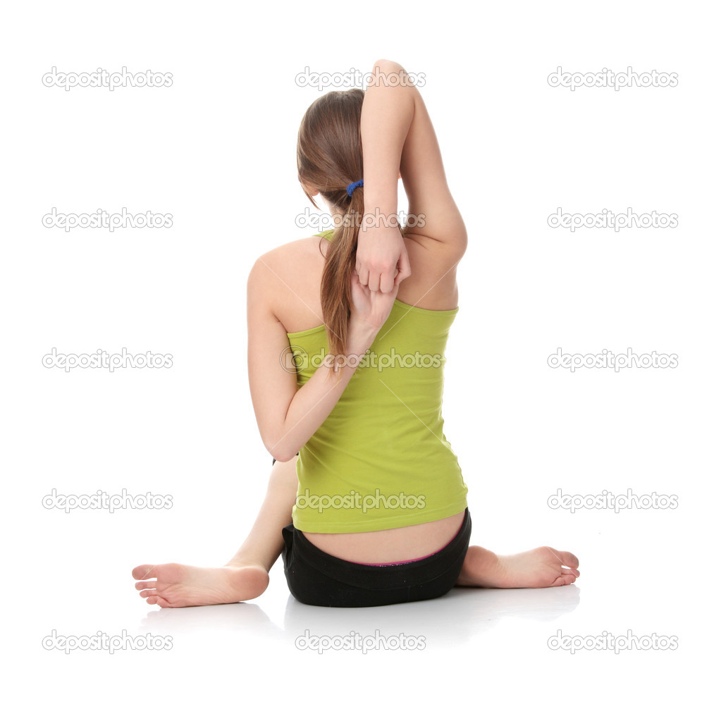 Teen girl exercising isolated on white background  Stock Photo #1617693