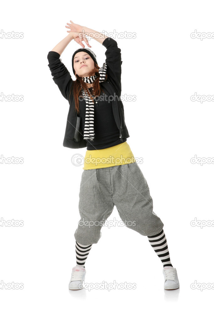 Young funky dancer, isolated on white background — Stock Photo #1618749