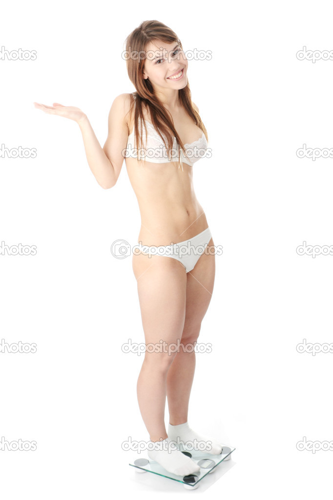 Happy woman on weight scale isolated — Stock Photo #1619610