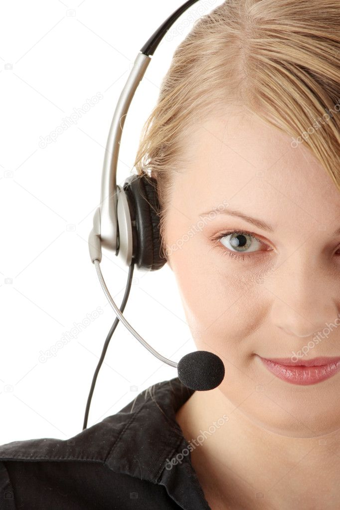 Young happy beautiful customer service operator girl in headset, smiling, isolated on white background. — Stock Photo #1619717