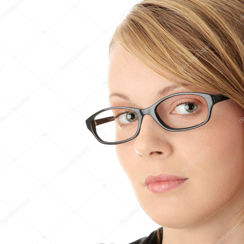 Portrait of a pretty young woman in glasses. Education or business concept. Isolated — Stock Photo #1619812