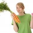 Fitness young woman and carrots — Stock Photo #1620021