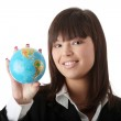 Business woman with a globe, — Stock Photo