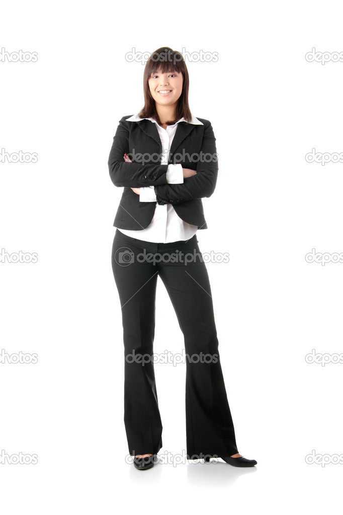 Confident business woman standing wearing elegant clothes - isolated over a white background — Photo #1620546
