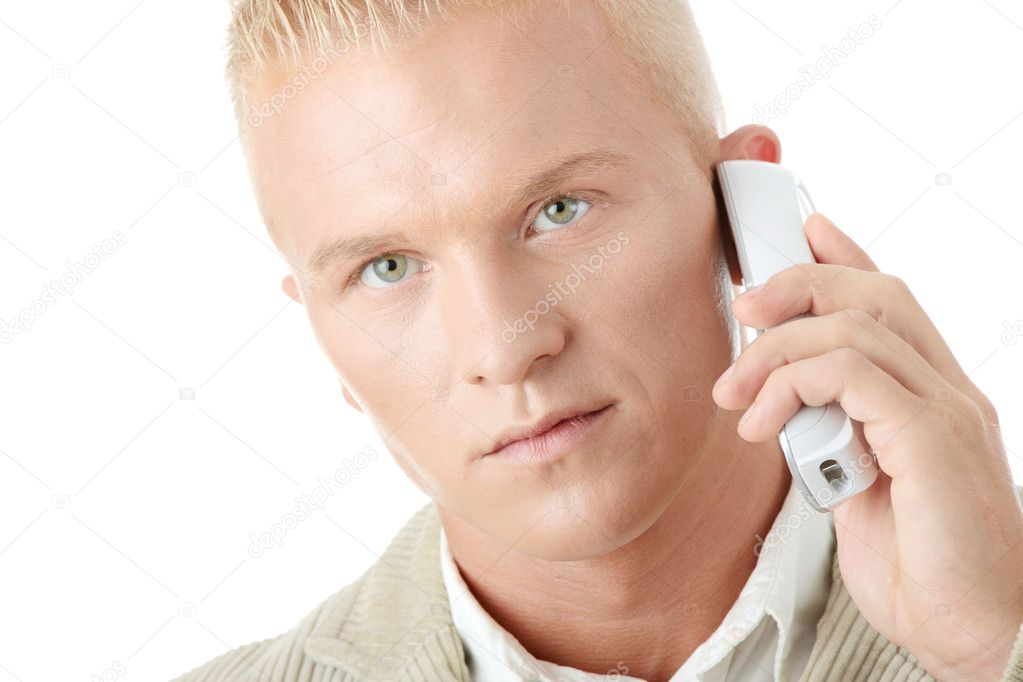 Yong Businessman Using wireless Phone, isolated — Stock Photo #1746964