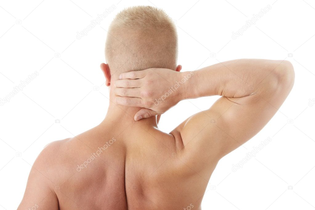 Man holding body like he is sore isolated — Stock Photo #1747298