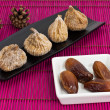 Dried figs and dates — Stock Photo