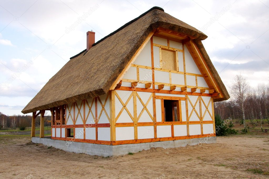 Ecological rural wooden house with cane roof — Stock Photo #1630547