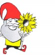 Happy gnome with flower — Stock Photo