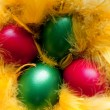 Stock Photo: Easter eggs in the yellow nest