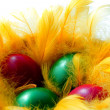 Easter eggs in the yellow  nest - Stock Photo