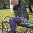 Girl on a bench — Stok fotoğraf
