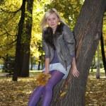 bella ragazza ad un albero — Foto Stock