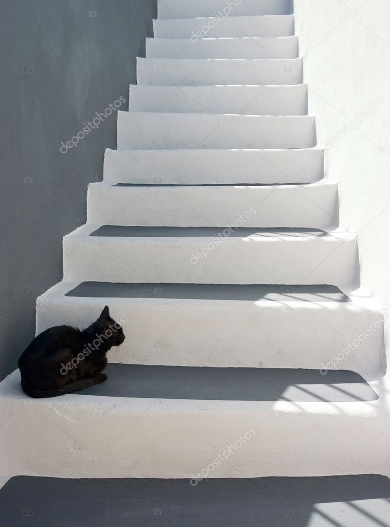 Black cat sitting on the stairs — Stock Photo #1703865