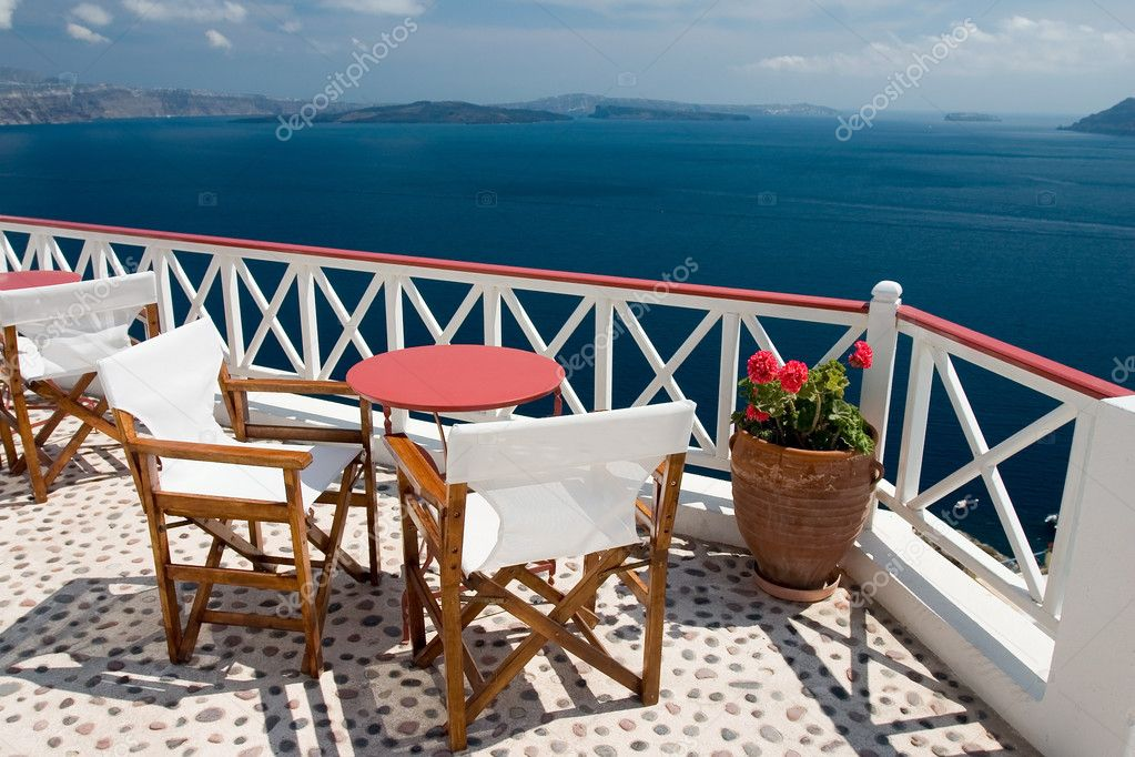 Beautiful view from balcony on the Santorini island  Stock Photo #1704514