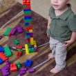 Boy with blocks — Stock Photo