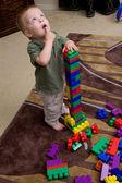 Boy with blocks — Stock Photo