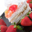 Stock Photo: Fancy cake and strawberry