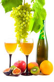 Wine and fruits isolated on white — Stock Photo