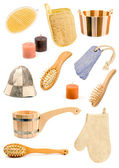 Collection of bath accessories — Stock Photo