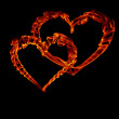 Two fire heart for valentine day — Stock Photo #1619754
